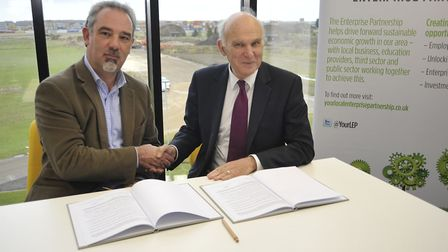 Business Secretary Vince Cable, visits Alconbury Weald, with the Chairman of LEP Mark Reeve,