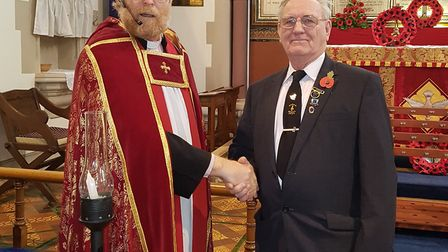 Reverend Andrew Smith and March Brass 2000 chairman, Peter Sutterby.