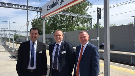 Cambridge North -Pictured from left: Jamie Burles, managing director, Greater Anglia; Keith Jipps, G