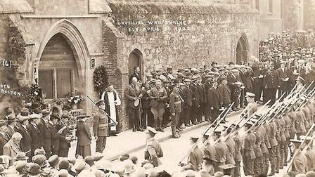 The unveiling of the Ely War Memorial on April 30 1922, the memorial can still be found in the Marke