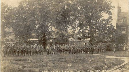 The Cambridgeshire Regiment of 1914-1915 as they prepare themselves for war. Taken on May 24 1914. P