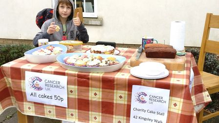Nathan Beech at his Cancer Research UK chairty cake sale, raising over £150.