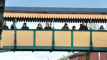 Train spotters waiting to get a shot of The Flying Scotsman at March rail station. PHOTO: Harry Rutt