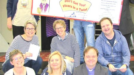 The cast of The Anglian Players production of 'Don't Get Your Vicars In A Twist'.