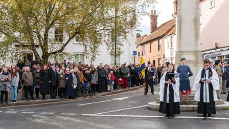 The Reverend Ruth Patten leads the service in front of the large crowd. Picture: SAFFRON PHOTO