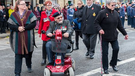 Veteran David Challis (in the wheelchair) in the red coat is Rose Weston, RBL branch treasurer. Pict