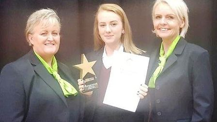 Award winner Rosetta Schauenburg-Kent with area cluster manager Nicola Roberts (right) and Wisbech b