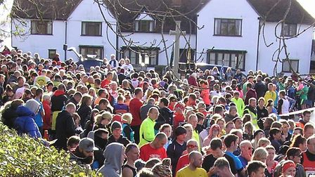 Athletes observe a two-minute silence before the Stebbing 10