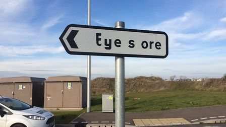 """The sign at Chatteris that once read """"superstore"""", Tesco never opened, so someone reached for the ma"""