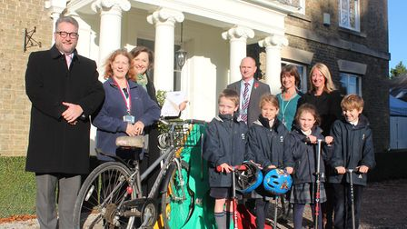Richard Whymark, Head of Kings Ely Junior; Rosemary Mullen, Road Safety Officer at Cambridgeshire Co