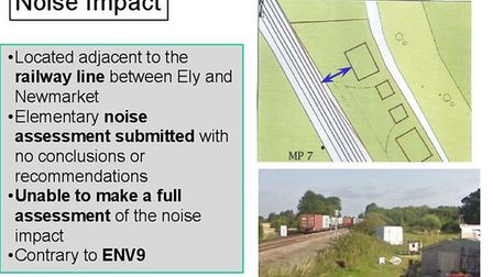 Noise impact slide presented to East Cambs planning committee by case officers for The Butts eco lod