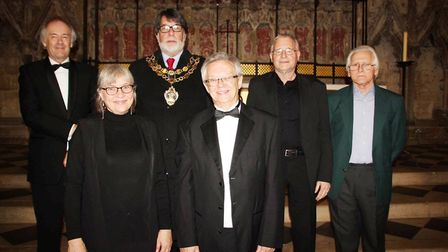 Roger Hill, Lotte Bille Glaesel, Councillor Richard Hobbs, Mayor of Ely, who thanked both choirs and