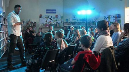 Children's author James Campbell met youngsters and signed copies of his new book at Littleport Libr