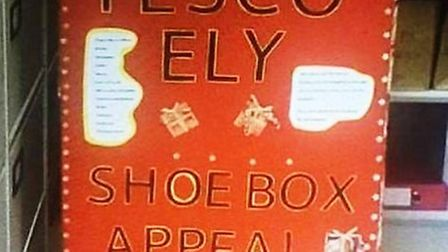 Tesco shoe box appeal to help local families in Ely on Christmas Eve.