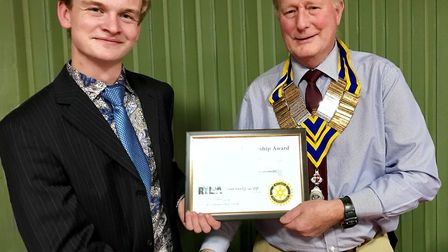 Barnaby Gray and March Rotarty Club President, Don Morris.