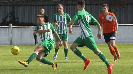 Soham will be without Lewis Endacott (left) for the visit of Waltham Abbey this Saturday. Photo: AND