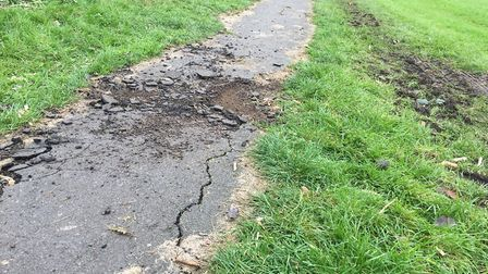 Gaul Road park's cracked paths are believed to have caused a young boy to fall off his scooter. PHOT