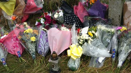 Flowers at the scene of a double fatal in Murrow PHOTO: Ian Carter
