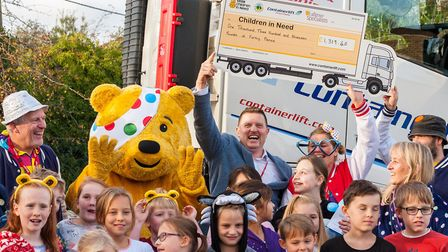 Pupils at Dunmow St Mary's, the shipping company, Containerlift and Pudsey all helped to raise £1,31