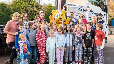 Children at Dunmow St Mary's were delighted to see Pudsey Bear and a container truck. Picture: SAFFR
