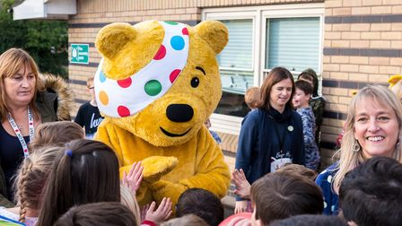 Pudsey bear and the Laughter Specialists visited Dunmow St Mary's Primary School for Children in Nee