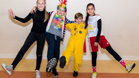 Year Six at Great Dunmow doing Pudsey proud. Picture: SAFFRON PHOTO