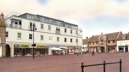 Re-development of Ely Market Place: Original artist's impression of what the new block of flats woul