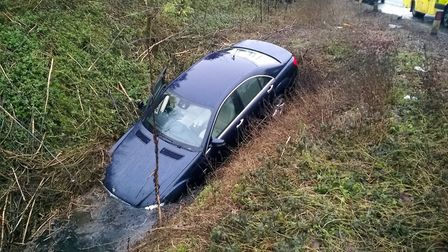 Mercedes 350 about to be recovered from a ditch along the A10 near Stretham, following a two vehicle