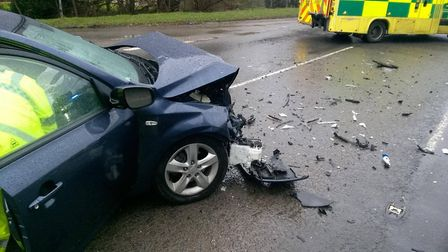 Kia Cee'd in a state of write-off following a collision with another vehicle on the A10 near Stretha