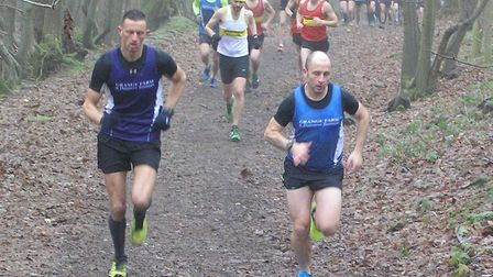 Grange Farm & Dunmow Runners' James Bosher and Lee Pickering lead the way at the first Mid-Essex Cro