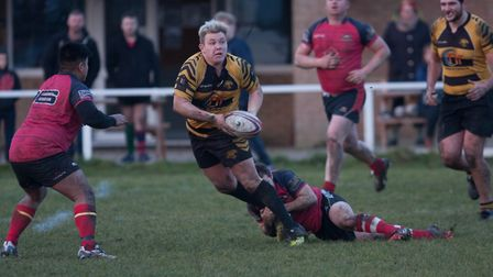 Ely Tigers V Wisbech - Nathan Brookes gets stop by last gasp tackle by Wisbech - PHOTO: Steve Wells