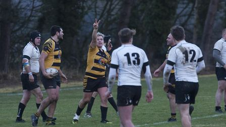 Nathan Brookes celebrates scoring his second try in Ely Tigers' 29-25 victory over Holt. Photo: Stev