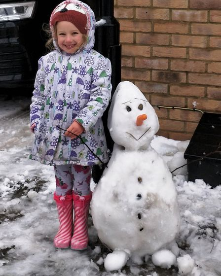 """""""Isabella and Olaf"""" during Ely's snow day 2017. PHOTO: Submitted"""