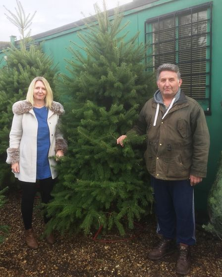 Donna Rudolph's with Fred Barrett choosing her Christmas tree.