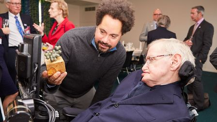 Professor Hawking was presented with a sculpture of the genetic structure of Diethylcarbamazine a me