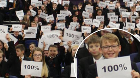 Neale-Wade Academy celebrate students with 100% attendance.