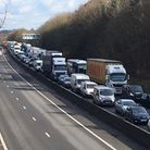 Tailbacks on the M11 following a serious crash on February 28, 2017. Picture: ARCHANT