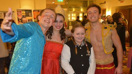 Come fly with Aladdin at KD Theatre's 'traditional family pantomime'. Some of the cast is pictured.