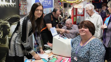 Cllr Sam Clark (right) gets her blood pressure checked by Lauren Bremner, FDC's Active Fenland Coord