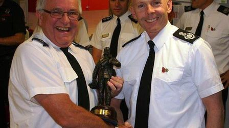 Retiring firefighter Mike Fishpoole and Cambs chief fire officer, Chris Strickland. Photo: Cambridge