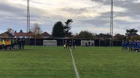 March Town and Little Oakley held a minute's silence in memory of Mandy Welcher on Saturday. Photo: