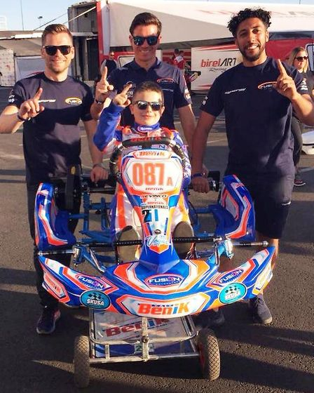 Vinnie Phillips with his mechanic, video analyst and data analyst in Las Vegas