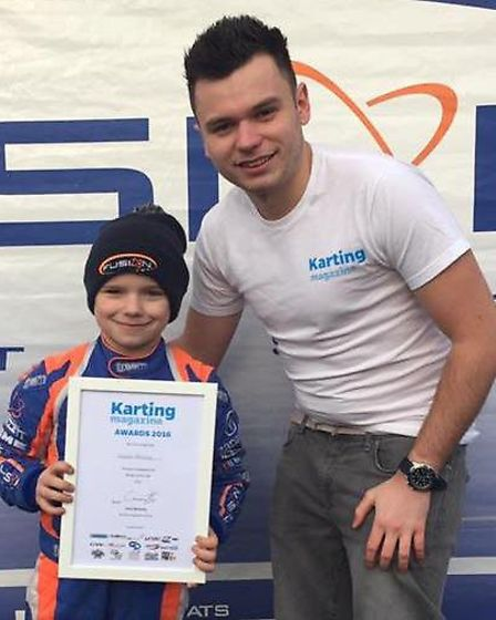 Vinnie Phillips was awarded Karting Magazine's rookie of the year runner-up certificate in January t