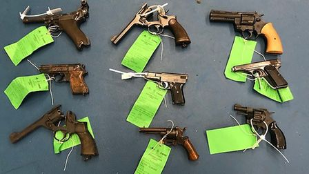 Images of guns collected across Bedfordshire, Cambridgeshire and Hertfordshire.Selection of pistols