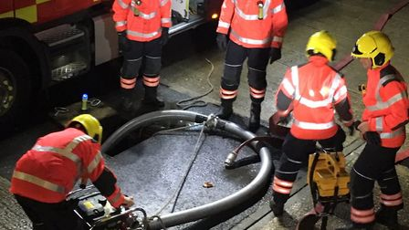 """""""Over in Whittlesey, firefighters are training on the light portable pump this week. #OurDay"""""""