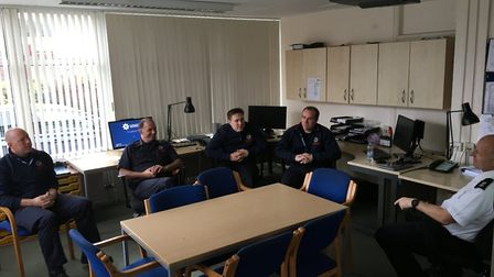 """""""Huntingdon Red Watch having a briefing and catching up on emails and any other updates since their"""