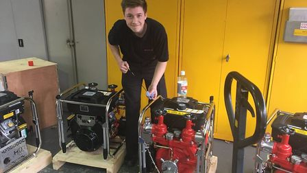 """""""Apprentice Daniel is busy checking the oil on the new light portable pumps #OurDay #TeamCambs"""""""
