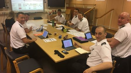 """""""Group commanders holding their weekly catch up meeting at SHQ to discuss any issues and forward pla"""