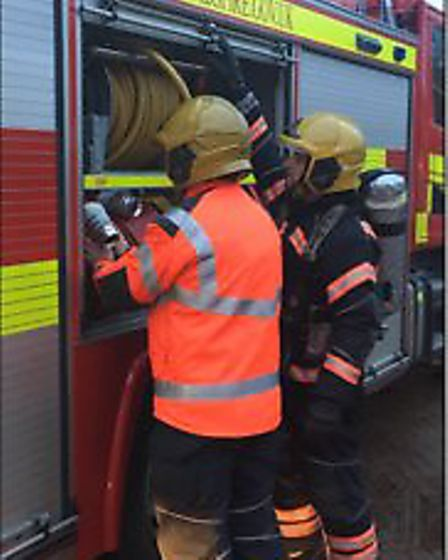 """""""Crews from Yaxley and Whittlesey were called flat fire in Stanground this morning. Wearing breathin"""