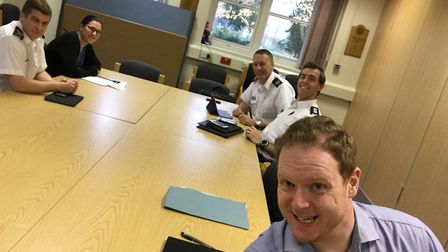 """""""Meeting at SHQ discussing staff recognition. Can you spot the special visitor that's joined us? #Ou"""